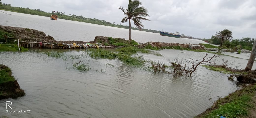 Ishawarpuri River Flooded The Nearest Villages By Breaking The River Embankment Caused By Spring Tide
