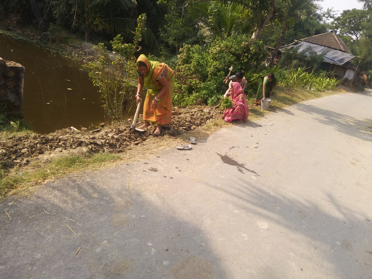 For The Beautification Of The Model Village Mukti Is Planting Winter Flower Saplings Beside The Roads Of Purba Sridharpur