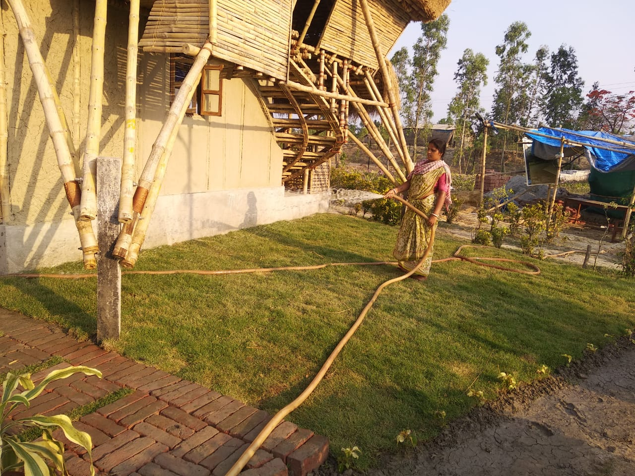 Watering Work Is Going On At Mukti Library Lawn And Model Ho...