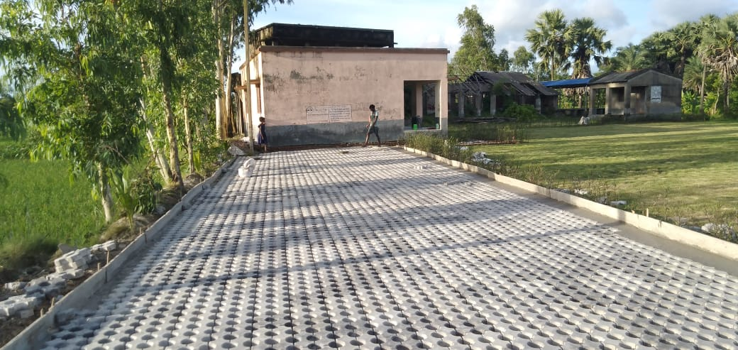 Mukti Installed Grass Paver Blocks For The Parking Lot Beside The Lawn Area Of Fs School At Paschim Para, Mukti Gram
