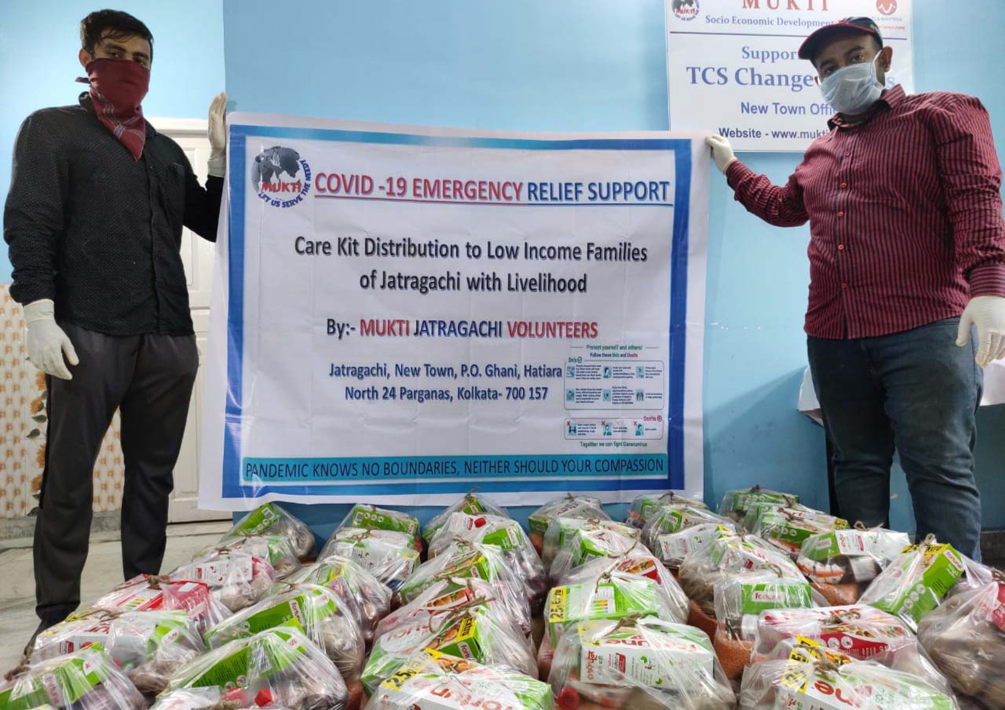 Essential Livelihood Care Kit Support by TCS Volunteers Associated with MUKTI Jatragachi Centre to Help Low Income Families of Jatragachi to fight Covid-19