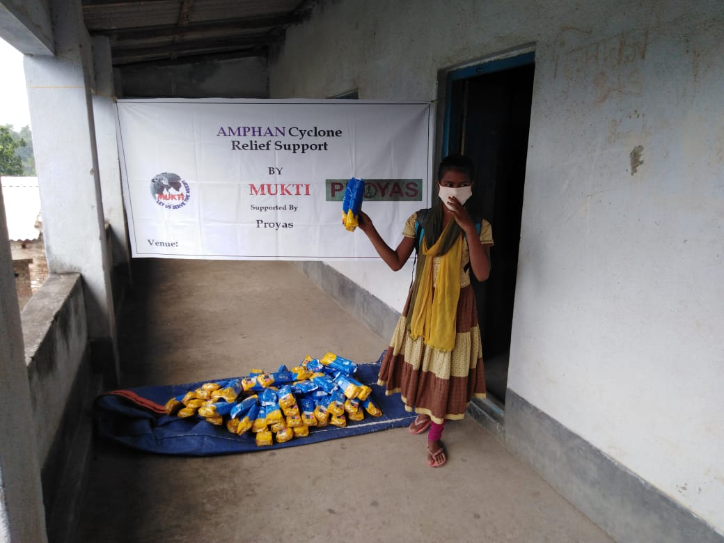 In Care for the Menstrual Health of the Adolescent Girls and Women, Mukti with PROYAS Distributed Sanitary Napkins