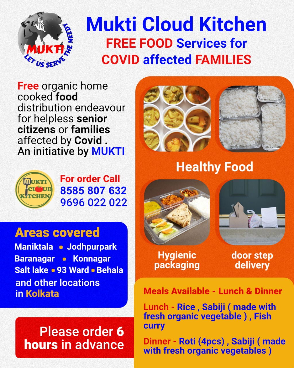 Mukti Cloud Kitchen: Free Food Service for Covid Affected Families