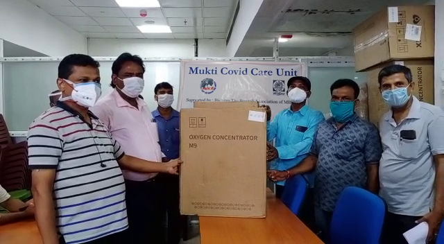 Mukti Conferment Oxygen Concentrators to the Chief of the Gram Panchayats